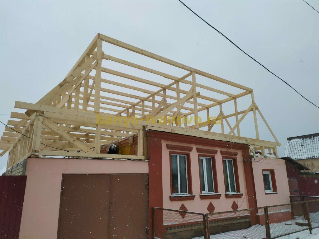 IMG 20201123 111412 scaled - Мансардная крыша м. Сластиха - покрытие профлистом, отделка фронтонов плитами OSB