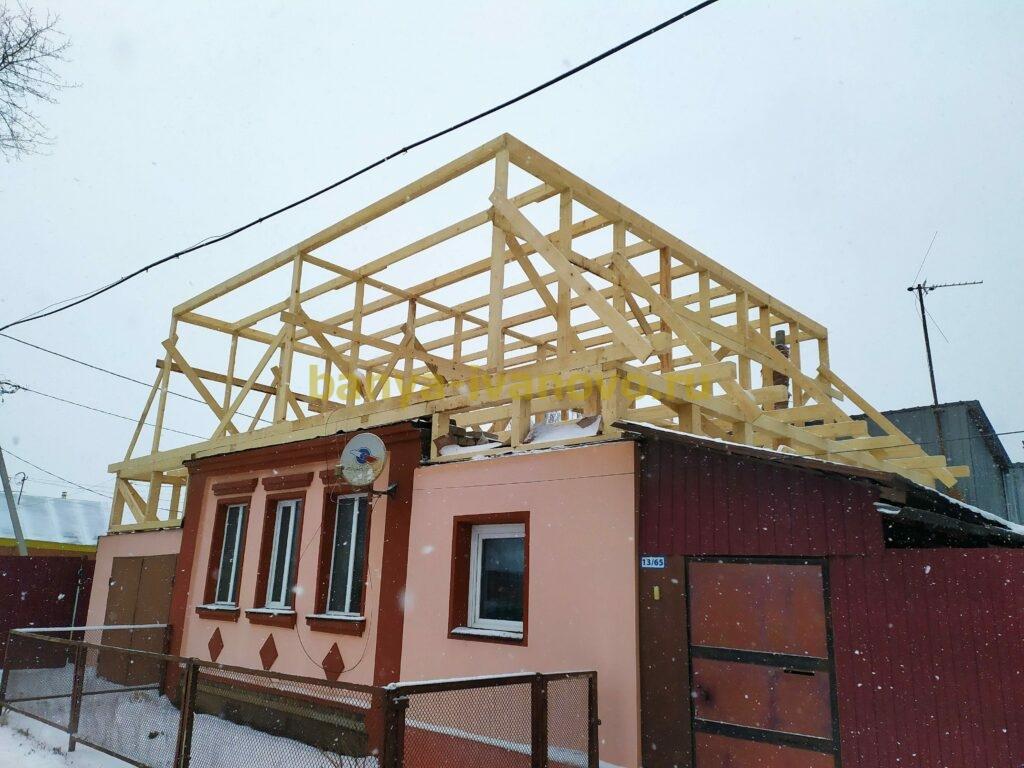 IMG 20201123 111431 scaled - Мансардная крыша м. Сластиха - покрытие профлистом, отделка фронтонов плитами OSB