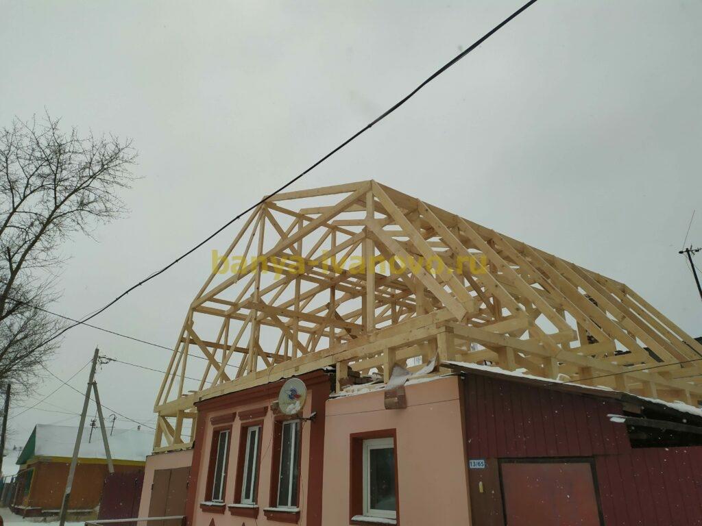 IMG 20201123 150443 scaled - Мансардная крыша м. Сластиха - покрытие профлистом, отделка фронтонов плитами OSB