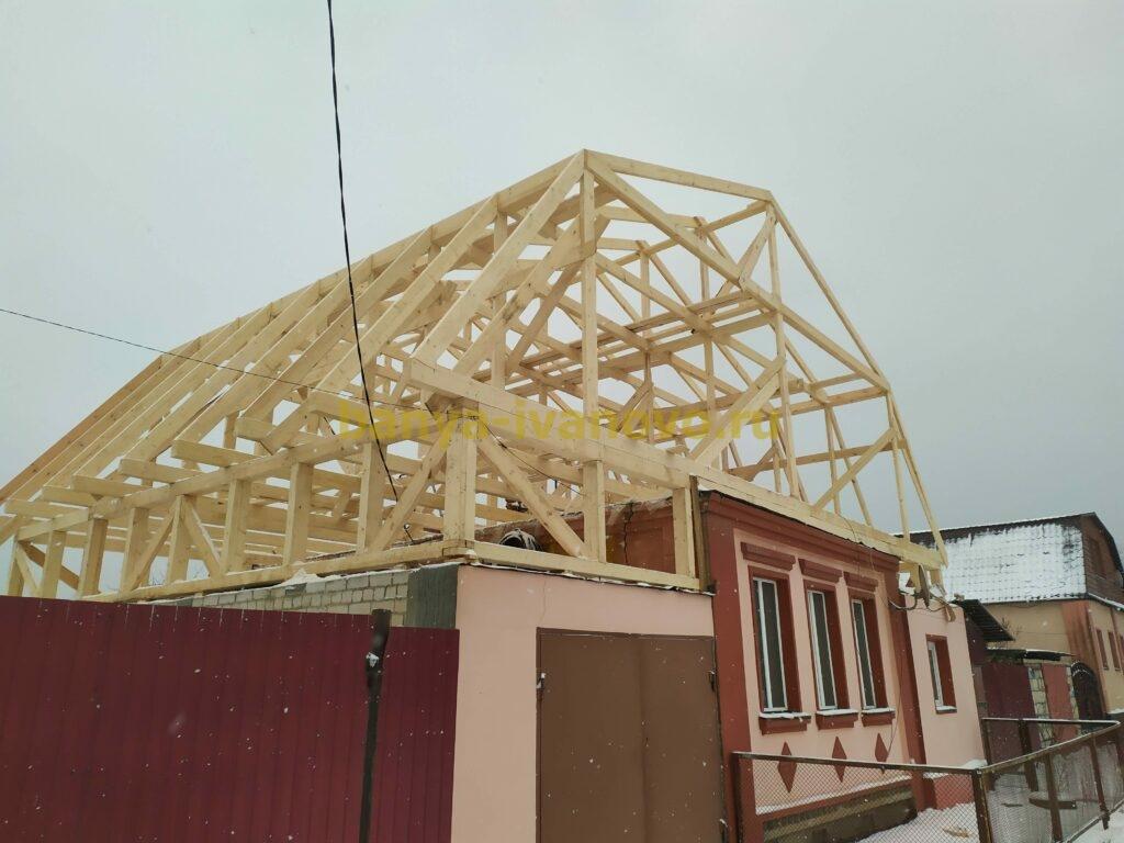 IMG 20201123 150502 scaled - Мансардная крыша м. Сластиха - покрытие профлистом, отделка фронтонов плитами OSB